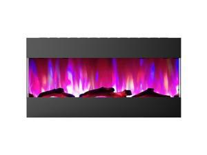 """CAMBRIDGE CAM42RECWMEF-2BLK 42"""" Recessed Wall Mount E-Fireplace with Logs"""