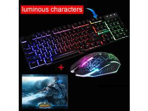 4fe988881f4 UrChoiceLtd 2016 MeiYing T6 Rainbow Backlit Multimedia Ergonomic Usb Gaming  Keyboard + 2400DPI 6 Buttons Optical