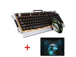 UrChoiceLtd® 2017 New K-33 Wired LED Backlit Multimedia Ergonomic Usb Gaming Keyboard Metal Waterproof + Wired 1200DPI / 1600DPI / 2400DPI / 3200DPI Backlit Optical Usb Gaming Mouse Sets For Computer
