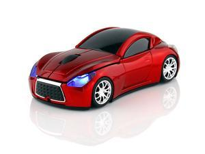 2.4GHz Wireless 1600DPI Limited Edition Infiniti Car Shape Usb Cordless Mouse US Top Racing Sport Car Shape Optical Mouse Mice with Headlight and Tail light Look Amazing Red