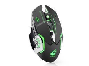 Wireless Mouse 2.4GHz X8 1800DPI Rechargeable Silent 6 Buttons 7 Colors LED Backlit Breath Usb Optical Gaming Mouse For Laptop Computer Notebook Desktop Game Office