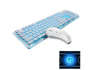 Wireless Keyboard and Mouse Combo Water Resistance 2.4G Blue Backlit and Wireless Soundless Mouse with Nano USB Receiver for Laptop PC Mac