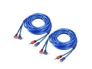 Two-channel Male to Male RCA Adapter Audio Stereo Cable 14.7 Ft Blue 2Pcs