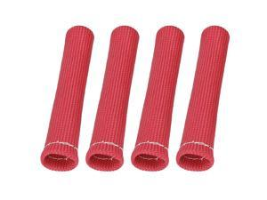 4 Pcs Red Spark Plug Wire Boots 1800 Degree Heat Shield Protector Sleeve for Car