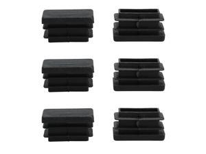 13 x 26mm Plastic Rectangle Ribbed Tube Inserts Table Feet Floor Protector 6pcs
