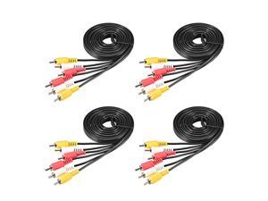 3-Male RCA to 3-Male RCA Adapter Audio Stereo Cable 6.6 Feet for Video Adapter Coupler Black 4Pcs