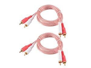 2-Male RCA to 2-Male RCA Adapter Audio Stereo Cable 4.9 Feet for Video Adapter Coupler Clear 2Pcs