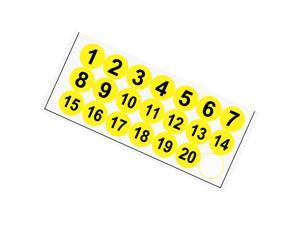 Round Number Stickers, 38mm Dia Number 1-20 Self Adhesive PVC Label Waterproof Black Word(Yellow Background)