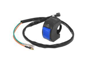 """DC12V 7/8"""" 22mm Motorcycle Handlebar Switch Scooter Headlight Toggle Switch with on Off Push Button Blue"""