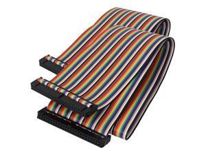 50cm 50 Pin 50 Way F/F Connector IDC Flat Rainbow Color Ribbon Cable 2pcs