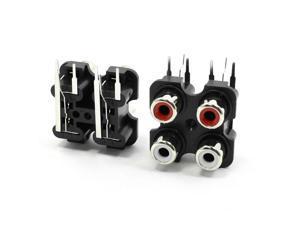 2PCS Audio Video AC Concentric RCA Socket 4 Female Jack Connector Black
