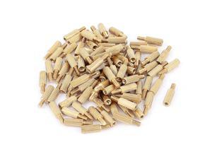 Unique Bargains 100pcs M2 Female x Male 8mm+4mm Knurling Brass Standoff Spacer for Motherboard