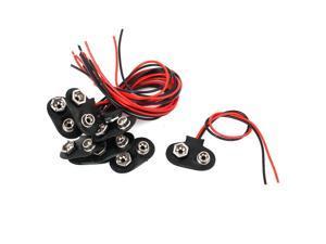 10pcs 15cm Wire Black Faux Leather 9V Block Battery Clips Buckles DIY Connectors