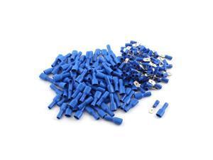 Unique Bargains 200Pcs Blue Insulated Spade Crimp Male Female Electric Cable Terminals AWG 16-14