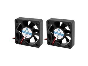 2Pcs 12V 50mm Black Quiet Case Cooling Fan 4500 RPM, 10.9 CMF, 29 dBA