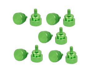 Computer PC Case Fully Threaded Knurled Thumb Screws Green 6#-32 10pcs