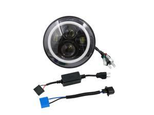 """7"""" DC 10-30V Round Motorcycle LED Projector Headlight For Harley Davidson Jeep Wrangler H4 H13 High Low Beam Headlamp Bulb Halo Ring Angel Eye DRL Lamp"""