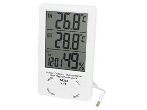 Unique Bargains TA298 White Plastic Indoor Outdoor LCD Digital Thermometer w Hygrometer Clock