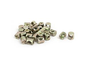 M6 x 10mm Cross Dowel Slotted Metal Barrel Nuts 30PCS for Furniture Bed Chair