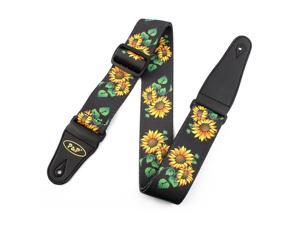 Faux Leather End Sunflower Print Adjustable Acoustic Electric Guitar Shoulder Strap Belt Multicolor