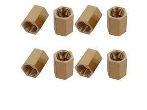 Unique Bargains1/4BSP Female Thread Brass Pipe Fitting Straight Hex Rod Coupling Nut 8pcs