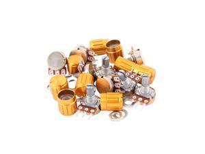 10 Pcs WH148-B200K 200K Ohm Rotary Linear Taper Potentiometers w Golden Knob