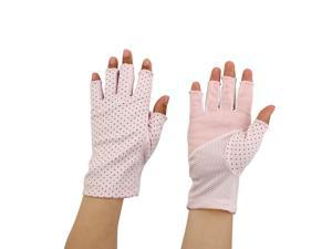 Ladies Breathable Half Finger Mittens Outdoor Sun Resistant Gloves Pink Pair