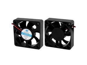 2DC 24V 0.06A 5x5x1.5cm 2-Wire 7 Vanes Black Cooling Fan for PC Case Cooler