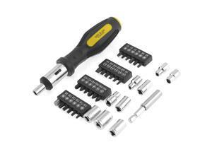 Black Yellow Plastic Handle Magnetic Bits Holder Screwdriver Set w Plastic Case