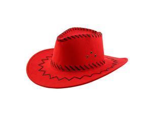 06ec76ec5f1 Adult Adjustable Neck Strap Wide Brim Western Style Sunhat Cowboy Hat Red