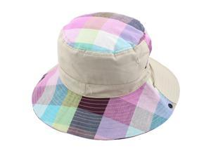 Fisherman Outdoor Fishing Plaid Pattern Wide Brim Summer Beach Bucket Hat Khaki