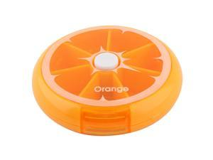 Household Cute Fruit Style Button Rotate Weekly Medicine Pill Box Case Orange