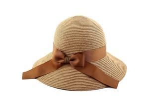 Women Straw Brimmed Beach Hat Foldable ... 440dbddc0b29