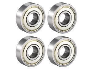 Deep Groove Ball Bearing 608ZZ Double Shield, 8mm x 22mm x 7mm High Carbon Steel Z1 Bearings, 4pcs