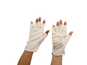 Women Breathable Half Finger Mittens Summer Sun Resistant Gloves Beige Pair