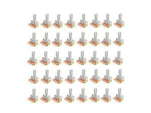40Pcs B500K/B50K/B100K/B1K Ohm Variable Resistors SingleTurn Rotary Carbon Film Taper Potentiometer