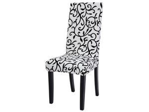 Stretch Spandex Short Dining Chair Covers Slipcover Parson Chair Covers White + Black