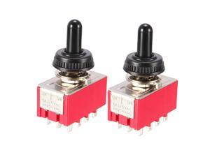 Unique Bargains AC 250V 2A 125V 6A on/off/on 2 Position 4PDT Toggle Switch 2PCS w Waterproof Cap