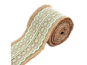 Household Gift Lace Edge Ornament Craft Burlap Ribbon Roll Light Green 2.2 Yards