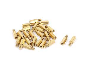 M3x10+6mm Female/Male Thread Brass Hex Standoff Pillar Spacer Coupler Nut 25pcs