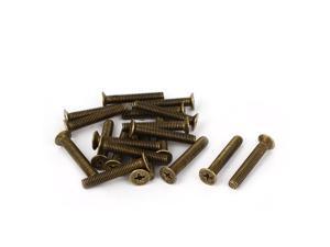 M5 x 30mm GB819 Phillips Flat Head Countersunk Screws Brass Tone 20 Pcs