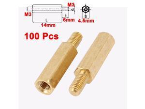 25//50//100pcs M3 Female To Male Brass Hexagonal Stand-Off Pillars PCB Mount