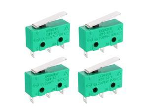 4PCS KW4-3Z-3 Micro Limit Switch SPDT NO NC 3 Terminals Momentary Short Straight Lever Type Green