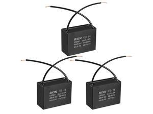 CBB61 Run Capacitor 450V AC 12uF 2 Wires Metallized Polypropylene Film Capacitors for Ceiling Fan 3pcs