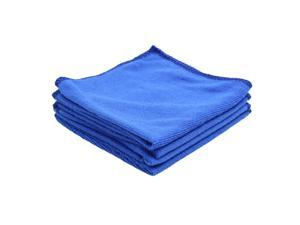4pcs Blue Microfiber Cleaning Cloth Absorbent Car Washing Towel 30cm x 30cm