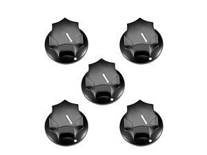 5Pcs 6mm Insert Shaft 24x15mm Plastic Potentiometer Rotary Knob Pots Black