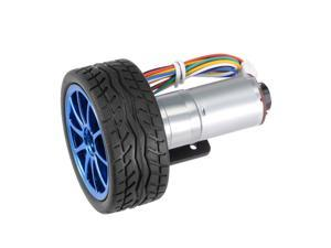1Set GM25-370 DC 12V 220RPM D Shape Shaft  6 Wire Gear Motor w Encoder and Wheel