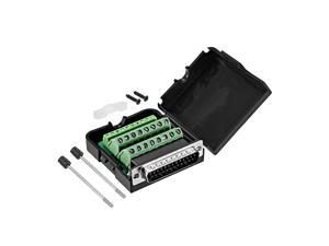 D-sub DB25 Breakout Board Connector with Case 25 Pin 2-row Male Port Solderless Terminal Block Adapter with Thumb Screws