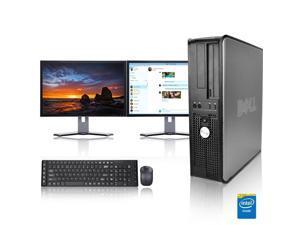 "Dell Optiplex Desktop Computer 2.3 GHz Core 2 Duo Tower PC, 4GB, 500GB HDD, Windows 10 x64, Office 365 Essentials, 17"" Dual Monitor , Radeon 128MB DDR2, USB Mouse & Keyboard"