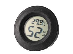 Black Round Shape Digital Temperature Humidity Meters Gauge Indoor Thermometer Hygrometer LCD Display Celsius(°C) for Humidors, Greenhouse, Garden
